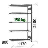 Varastohylly jatko-osa 2100x1170x800 150kg/hyllytaso,5 tasoa