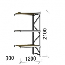 Extension bay 2100x1200x800 600kg/level,3 levels with chipboard