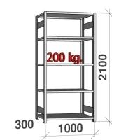 Varastohylly perusosa 2100x1000x300 200kg/hyllytaso,5 tasoa