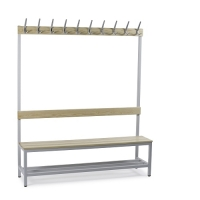 Single bench 1700x900x400 with 6 hook rail and shoe shel
