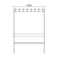 Double bench 1700x1200x770 16 hook rail