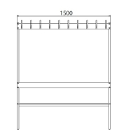 Double bench 1700x1500x770 20 hook rail