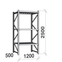 Varastohylly perusosa 2500x1200x500 600kg/hyllytaso,3 tasoa peltitasoilla