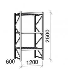 Varastohylly perusosa 2500x1200x600 600kg/hyllytaso,3 tasoa peltitasoilla