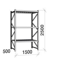 Metallihylly perusosa 2500x1500x500 600kg/hyllytaso,3 tasoa peltitasoilla