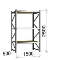 Metallihylly perusosa 2500x1500x500 600kg/hyllytaso,3 tasoa lastulevytasoilla