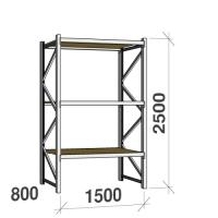 Metallihylly perusosa 2500x1500x800 600kg/hyllytaso,3 tasoa lastulevytasoilla