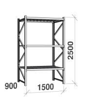 Metallihylly perusosa 2500x1500x900 600kg/hyllytaso,3 tasoa peltitasoilla