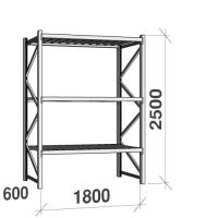 Metallihylly perusosa 2500x1800x600 480kg/hyllytaso,3 tasoa peltitasoilla