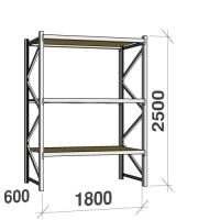 Metallihylly perusosa 2500x1800x600 480kg/hyllytaso,3 tasoa lastulevytasoilla