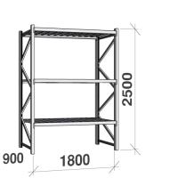 Metallihylly perusosa 2500x1800x900 480kg/hyllytaso,3 tasoa peltitasoilla