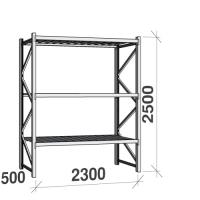 Metallihylly perusosa 2500x2300x500 350kg/hyllytaso,3 tasoa peltitasoilla