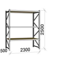 Metallihylly perusosa 2500x2300x500 350kg/hyllytaso,3 tasoa lastulevytasoilla