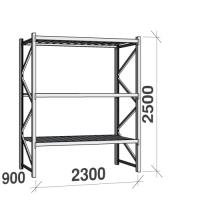 Metallihylly perusosa 2500x2300x900 350kg/hyllytaso,3 tasoa peltitasoilla