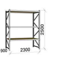 Metallihylly perusosa 2500x2300x900 350kg/hyllytaso,3 tasoa lastulevytasoilla