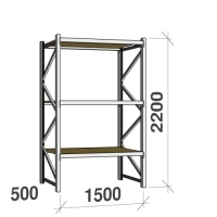 Metallihylly perusosa 2200x1500x500 600kg/hyllytaso,3 tasoa lastulevytasoilla