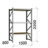 Metallihylly perusosa 2200x1500x800 600kg/hyllytaso,3 tasoa lastulevytasoilla