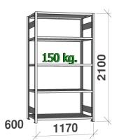 Varastohylly perusosa 2100x1170x600 150kg/hyllytaso,5 tasoa