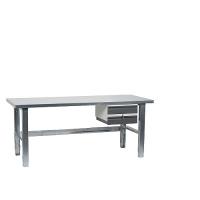 Työpiste 2000x800  terästasolla, sinkityt jalat, pöytälaatikko 2-osainen