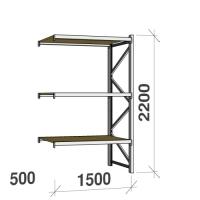 Metallihylly jatko-osa 2200x1500x500 600kg/hyllytaso,3 tasoa lastulevytasoilla