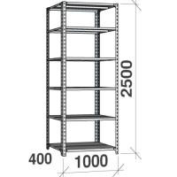 Metallihylly perusaosa 2500x1000x400, 6 tasoa,120kg/taso, harmaa