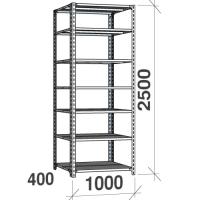 Metallihylly 2500x1000x400, 7 tasoa,120kg/taso, harmaa pylväs/sinkityt hyllyt