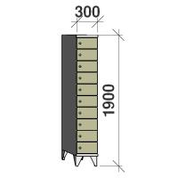 Lokerokaappi 10:lla ovella 1900x300x545
