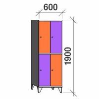 Lokerokaappi 4:lla ovella 1900x600x545 hattuhyllyllä ja vaatetagolla