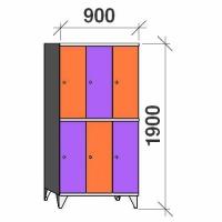 Lokerokaappi 6:lla ovella 1900x900x545 hattuhyllyllä ja vaatetagolla