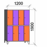 2-tier locker, 8 doors, 1900x1200x545 mm