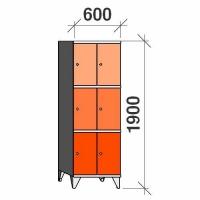 3-tier locker, 6 doors, 1900x600x545 mm
