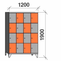 Lokerokaappi 16:lla ovella 1900x1200x545
