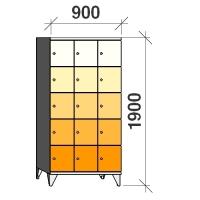 5-tier locker, 15 doors, 1900x900x545 mm
