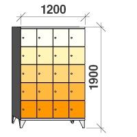 Lokerokaappi 20:lla ovella 1900x1200x545