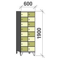 8-tier locker, 16 doors, 1900x600x545 mm