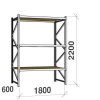 Metallihylly perusosa 2200x1800x600 480kg/hyllytaso,3 tasoa lastulevytasoilla