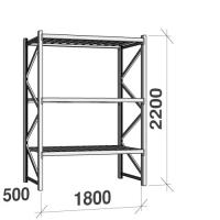 Metallihylly perusosa 2200x1800x500 480kg/hyllytaso,3 tasoa peltitasoilla