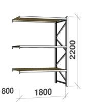 Metallihylly jatko-osa 2200x1800x800 480kg/hyllytaso,3 tasoa lastulevytasoilla