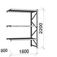 Metallihylly jatko-osa 2200x1800x800 480kg/hyllytaso,3 tasoa peltitasoilla
