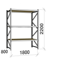 Metallihylly perusosa 2200x1800x800 480kg/hyllytaso,3 tasoa lastulevytasoilla