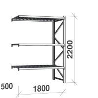 Metallihylly jatko-osa 2200x1800x500 480kg/hyllytaso,3 tasoa peltitasoilla