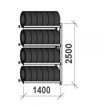 Rengashylly jatko-osa 2500x1400x500, 4 tasoa, 600kg/taso