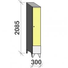 Vaatekaappi 1:llä ovella 2085x300x545 lyhytovinen, viistokatolla