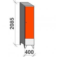 Vaatekaappi 1:llä ovella 2085x400x545 lyhytovinen, viistokatolla