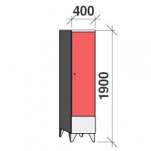 Pukukaappi 1:lla ovella 1900x400x545 lyhytovinen