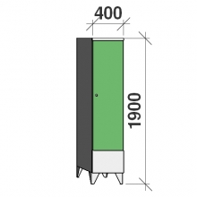 Locker 1x400, 1900x400x545, short door, sep. wall