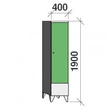 Pukukaappi 1:lla ovella 1900x400x545 lyhytovinen väliseinällä
