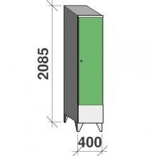 Vaatekaappi 1:llä ovella 2085x400x545 lyhytovinen,väliseinällä, viistokatolla
