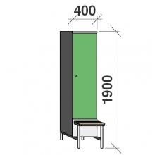 Vaatekaappi 1:lla ovella 1900x1200x830 jalustapenkillä väliseinällä