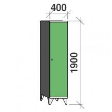 Pukukaappi 1:lla ovella 1900x400x545 pitkäovinen väliseinällä
